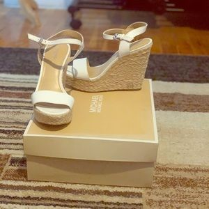 Michael Kors Leather Espadrilles Platform Wedge